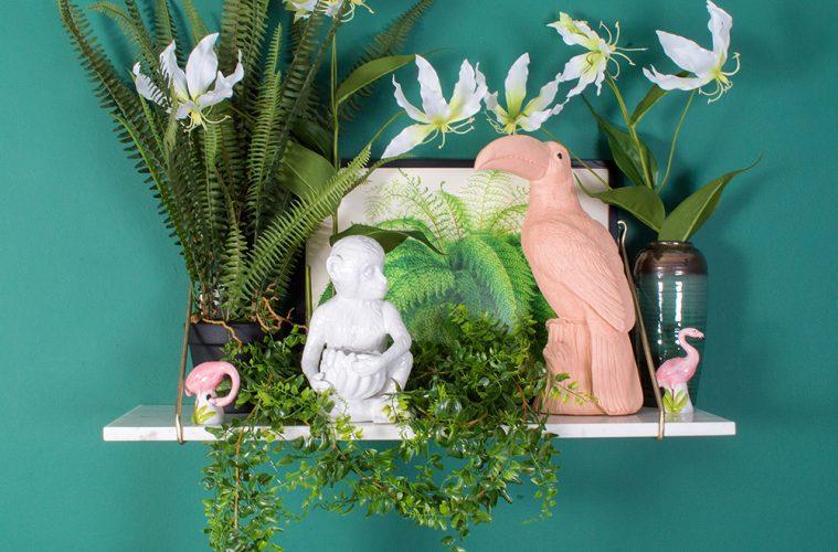Toucan Money Box £59.95. White Marble Shelf £74. Monkey Plant Pot £68_Miafleur