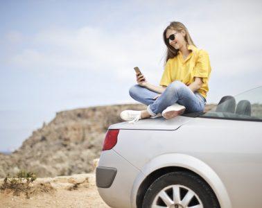 woman on car